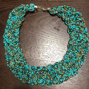 Turquoise beaded statement necklace